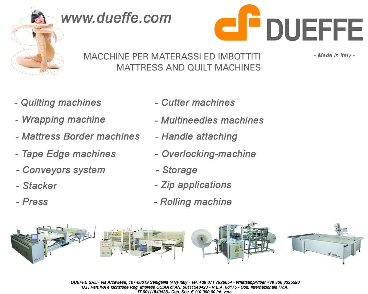 Dueffe Materassi.Www Dueffe Com Mattress And Quilt Machines Macchine Per